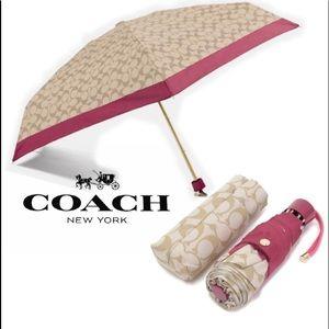 COACH Logo Gold Pink Mini Umbrella